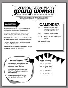 2014 Young Women Newsletter Template. Free download from Hang a Ribbon on the Moon! Editable/saveable PDF makes creating newsletters for you...