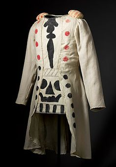 1932 Giorgio de Chirico design for a coat; wool, cotton, & paint, for the Ballets Russes 'Pulcinella'. National Gallery of Australia, Canberra. Circus Costume, Costume Dress, Authentic Costumes, Theatre Costumes, Italian Fashion Designers, Theatre Design, Costume Design, Vintage Fashion, Couture