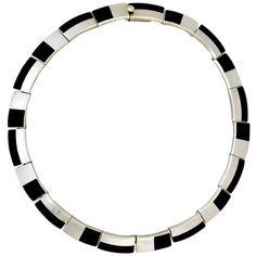 Antonio Pineda .970 Onyx Silver Choker Necklace 1955 Art Deco Style | 1stdibs.com #1stdibsHoliday