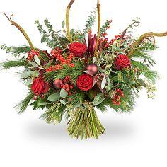 Kerst Boeket - Joyful - Rood - te bestellen bij Boeketten.nl