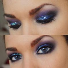 gorgeous blue and purple sparkly makeup<3