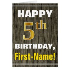 #Bold Faux Wood Faux Gold 5th Birthday  Name Card - #birthday #gifts #giftideas #present #party