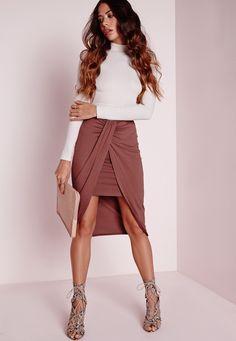 Missguided - Wrap Jersey Midi Skirt Dark Rose