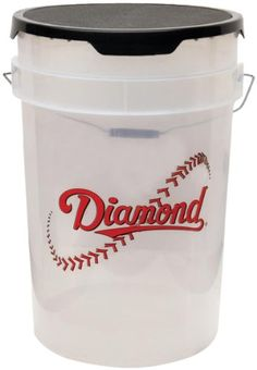 Diamond 6-Gallon Ball Bucket with Lid, Clear - http://www.closeoutball.com/softball-closeout-sale-discount-free-shipping/diamond-6-gallon-ball-bucket-with-lid-clear/