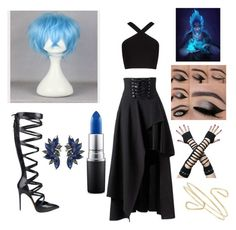 """Hades is my Halloween costume"" by mcratthedisco ❤ liked on Polyvore featuring BCBGMAXAZRIA, Casadei and MAC Cosmetics"