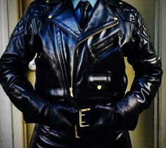 The Officer in Charge Leather Men, Leather Jacket, Men In Uniform, Men Dress, Gloves, Tights, Jackets, Outfits, Collection