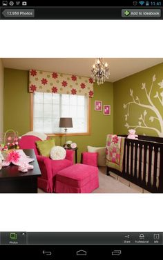 Cute....hot pink, dark wood, green, and trees!