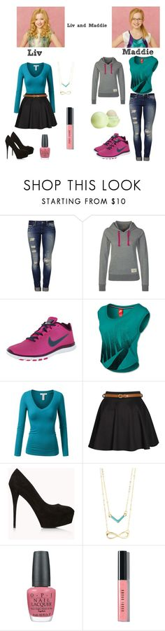 """""""Liv and Maddie"""" by poprocks18 ❤ liked on Polyvore featuring Disney, Mavi, Russell Athletic, NIKE, J.TOMSON, Boohoo, Forever 21, OPI, Bobbi Brown Cosmetics and Eos"""