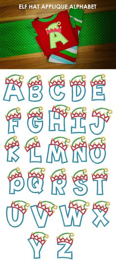 How adorable is this whimsical elf hat applique alphabet? All of our font alphabets are manually digitized to bring you maximum stitch sizes included: 2 inch, 3 inch, 4 Christmas Fonts, Christmas Applique, Christmas Embroidery, Christmas Crafts, Machine Embroidery Applique, Embroidery Files, Creative Lettering, Letters And Numbers, Applique Designs