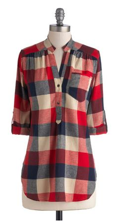 Bonfire Stories Tunic in Red Plaid - Blue Tan / Cream Plaid Buttons Pockets Casual Cotton Woven Red Rustic Sleeve Long Red . Pretty Outfits, Fall Outfits, Cute Outfits, Mode Style, Style Me, Plaid Tunic, Plaid Shirts, Flannels, Plaid Flannel