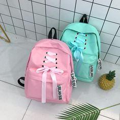 Ribbons School Bags for Teenage Girls Pink Canvas Backpack Korean Student  Mini Backpack. Cheap Backpacks 41cd2df8d40cb