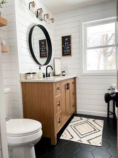 Upstairs Bathrooms, Downstairs Bathroom, Laundry In Bathroom, Farm House Bathroom, Shiplap Bathroom, Bathroom Renos, Bathroom Remodeling, Remodeling Ideas, Hexagon Tile Bathroom