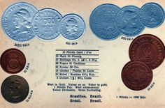 Brasil Coin Embossed Postcard - Things and Postcards