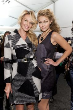 Candice Swanepoel and Gigi Hadid in the backstage of Desigual. We love how they look cute! #NYFW