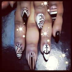...Abstract nail art black white nude