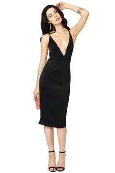 In Deep Black Scuba Plunge Neck Bodycon Dress | Oh My Love