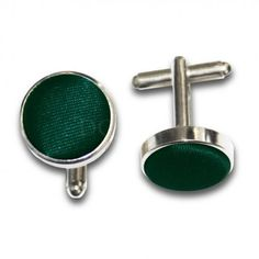 Save 60% - Was £4.99 - Now £1.99  Express your unique personality with one of our DQT plain forest green satin cufflinks ideal for formal events such as weddings, proms, dances and other special occasions.