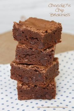 Chocolate Chip Brownies-moist fudgy brownies with a crispy top, theses are made in a 9 x 13 pan so there's enough for a crowd!