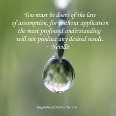 """""""You must be doers of the law of assumption, for without application the most profound understanding will not produce any desired result."""" - Neville"""