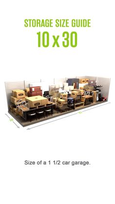 Self-storage size guide for a storage unit. Size of a 1 car garage. Self-storage size guide for a storage unit. Size of a 1 car garage. Storage Unit Sizes, Self Storage Units, Storage Spaces, Moving Storage Containers, Moving And Storage, Storage Rental, Personalised Christmas Baubles, Garage Organization, Organizing