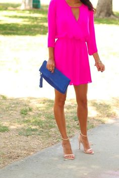 Consider wearing hot pink fit and flare dress for an effortless kind of elegance. Choose a pair of beige leather heeled sandals to instantly up the chic factor of any outfit.   Shop this look on Lookastic: https://lookastic.com/women/looks/hot-pink-skater-dress-beige-heeled-sandals-blue-clutch-gold-bracelet/11513   — Hot Pink Skater Dress  — Gold Bracelet  — Blue Suede Clutch  — Beige Leather Heeled Sandals