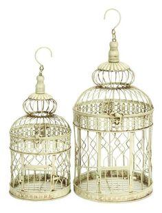 Metal 2 Piece Decorative Bird Cage Set