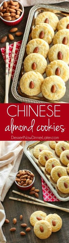Breakfast Lasagna Chinese Almond Cookies are simple, crisp, buttery, and full of almond flavor. Save this recipe for Chinese New Year! Almond Cookies, Yummy Cookies, Yummy Treats, Delicious Desserts, Yummy Food, Cookie Desserts, Cookie Recipes, Dessert Recipes, Biscuits