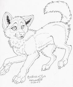 Free Wolf Pup Lineart by NatsumeWolf on DeviantArt