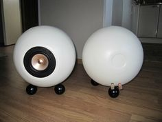 front and back of diy Ikea wooden bowl speakers. More at diyaudio.com