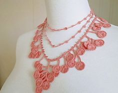 Irish Crochet encaje joyería Boho Chic 1-g fibra por DorisChiStudio