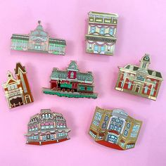 Main Street USA charm pin series disney attraction inspired | Etsy Custom Patches, Hard Enamel Pin, Cute Pins, Disney Pins, Train Station, Main Street, Attraction, Maine, Bee
