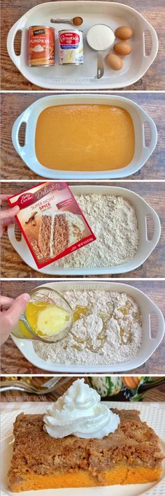 Pumpkin Pie Dump Cake Easy Pumpkin Fall Dessert Idea — A quick and easy recipe for Thanksgiving! Made with simple ingredients including a box of spice cake mix. The entire family will love this creative dessert! Thanksgiving Desserts Easy, Fall Dessert Recipes, Fall Desserts, Fall Recipes, Holiday Recipes, Delicious Desserts, Yummy Food, Dessert Party, Party Desserts