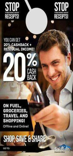 Who's next to start living the 20% cash back lifestyle? Now you can with this program. Save.Shop.Share http://www.residualdaily.com