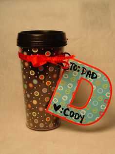 Here is an easy Father's Day gift that is sure to please! Purchase a Dots on Black Travel Mug, and decorate it with ribbon and a tag made out of Dots on Turquoise Designer Letters. Easy Father's Day Gifts, Fathers Day Gifts, Diy Gifts, Creative Teaching Press, Nicu, Parent Gifts, Lets Celebrate, Small Gifts, Making Out