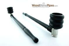 """9"""" Long Black Carved Straight Smoking Wood Unique Design Tobacco Pipe"""