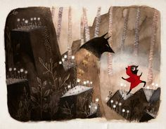 Illustration from Amelie Flechais LRRH Little Red Riding Hood