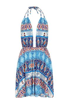 You will love this mini dress thanks to its bohemia style. Featuring sleeveless, open back, self-tie at neck and bohemia floral print. Finish it with flat sandals.