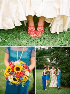 Add in blue or purple with 'maids dresses and florals!