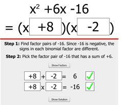 This online game provides some scaffolded practice with factoring quadratic trinomials. Algebra Activities, Maths Algebra, Math Resources, Calculus, Math 2, Basic Math, Math Teacher, Math Classroom, Teaching Math