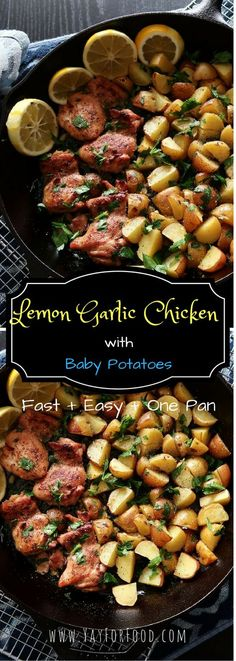 {Recipe Video} Chicken thighs and baby potatoes covered with a simple lemon garlic sauce then roasted to create a delicious and healthy meal for two in 40 minutes or less.