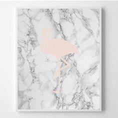 Flamingo print Fashion Modern art Fashion art Pink Marble