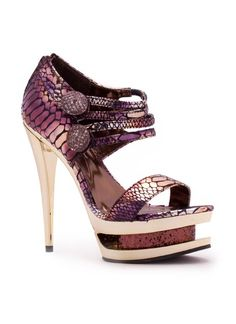 heels snakeskin double platform gold high heels purple