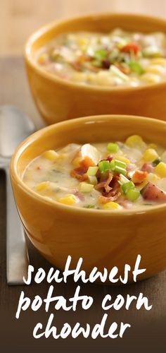 Southwest Potato Corn Chowder made with Progresso Broth and Green Giant niblets is the perfect flavorful dinner - ready in just 35 minutes! This creamy hearty chowder is so delicious, you won't believe it is made with fat-free yogurt and reduced-fat Cheddar cheese.