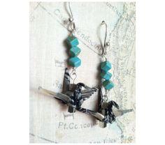 Geometric turquoise beads and crane earrings, $28.0