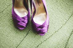 7 Wedding Shoe Mistakes to Avoid |  #advice #aqua #bridal #bride #caparros #flats #ivory #knot #mistakes #peeptoe #planning #platform #purple #red #weddingshoe #weddingshoes | Wedding Shoe Tips: Purple Heels (photo by rachael schirano)