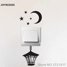 Joyreside Vintage Lantern Moon Stars Funny Light Switch Small Wall Decal Vinyl Sticker Room Home House Decor Decoration Simple Wall Paintings, Creative Wall Painting, Wall Painting Decor, Wall Stickers Wallpaper, Wall Decor Stickers, Vinyl Wall Decals, Small Wall Stickers, Funny Wall Art, Diy Wall Art