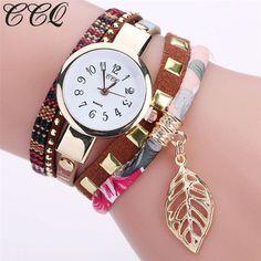 41d88c1f09cca Women s Leaf Fabric Gold Quartz Wrist Watch. Woman WatchesCool  WatchesBracelet ...
