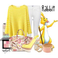Rabbit - Spring - Disney's Winnie the Pooh by rubytyra featuring long sleeve sweaters Disney Bound Outfits Casual, Cute Disney Outfits, Disney Themed Outfits, Disney Dresses, Princess Inspired Outfits, Disney Inspired Fashion, Disney Fashion, Disney Character Outfits, Character Inspired Outfits