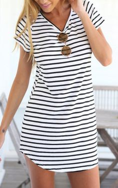 Black White V Neck Striped Slim Dress
