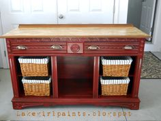 Lake Girl Paints: Caramel Apple Sideboard.   Base coat of semi-gloss black, double loaded brush with these two reds..Colonial Red and Apple Red.  Lots more info about how she achived the gold toned top on her blog.